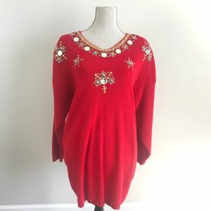 Sweaters - Red Winter Christmas  Embellished Sweater